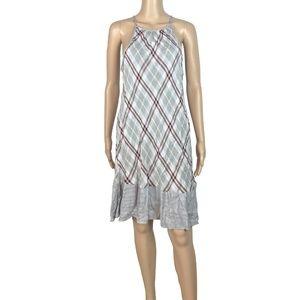 NWT Cloth + Stone plaid ruffle hem swing dress